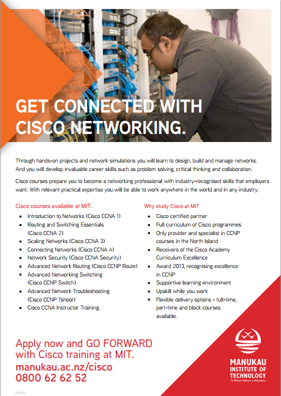 Prepare for CCNA, CCNA Security, and CCNP at the Manukau Institute of Technology